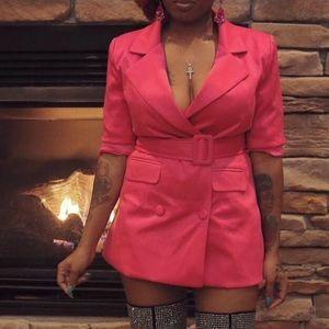 Magenta blazer jacket dress